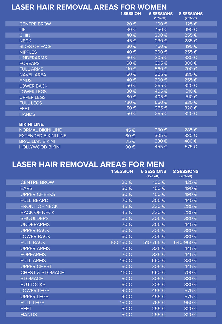 pricelist Laser hair removal touch of beauty cork