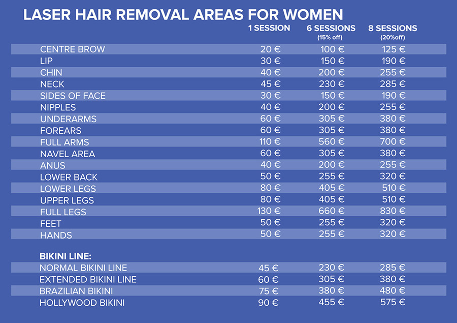 pricelist WOMEN Laser hair removal touch of beauty