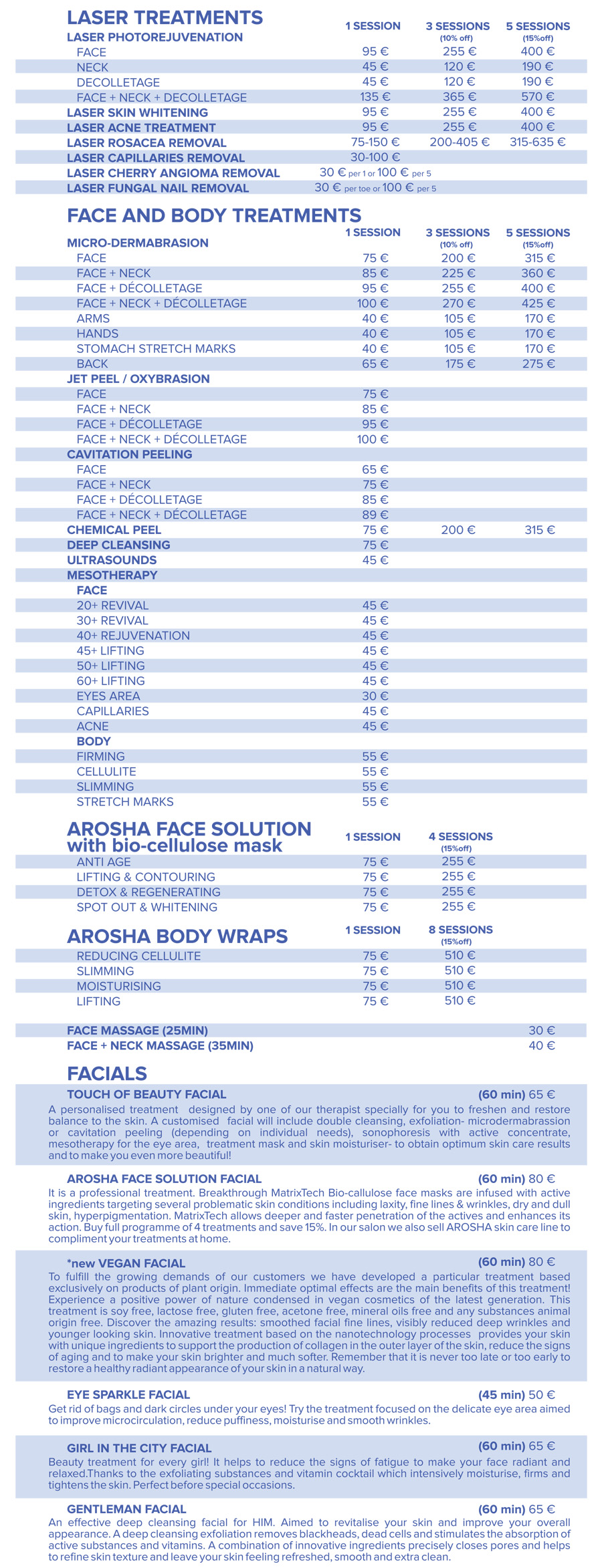 pricelist touch of beauty cork
